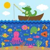 Le crocodile dans le bateau pêche des poissons illustration libre de droits