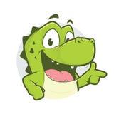 Le crocodile ou l'alligator avec le geste et le cercle de doigt d'arme à feu forment Photographie stock libre de droits