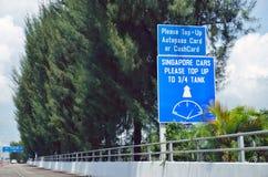 Le croisement de route de frontière de point de contrôle de Tuas entre Singapour et Johor, Malaisie photographie stock libre de droits