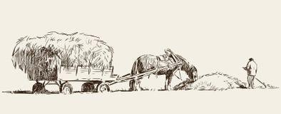 Le croquis d'un agriculteur moissonne le foin illustration de vecteur