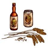 Le croquis de boissons de bière, de bière blonde allemande et de bière anglaise avec la bouteille, peut illustration de vecteur