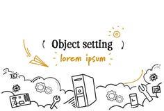 Le croquis de concept d'arrangement d'objet de service technique d'ordinateur gribouillent l'espace d'isolement horizontal de cop illustration de vecteur