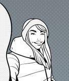 Le croquis de la jeune femme dans des vêtements d'hiver prennent la photo de Selfie au-dessus du bruit Art Dots Retro Style Backg Images stock
