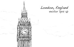 Le croquis de Londres, Angleterre, montrent que grand soyez avec des nuages, illustration Photos libres de droits