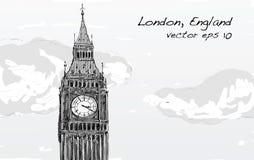 Le croquis de Londres, Angleterre, montrent que grand soyez avec des nuages, illustration Photo libre de droits