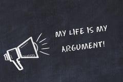 Le croquis de panneau de craie avec le haut-parleur et l'expression de motivation ma vie est mon argument illustration stock
