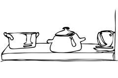 Le croquis de vecteur de la vaisselle et la casserole se tiennent sur une étagère Images libres de droits