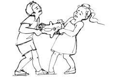 Le croquis des enfants de garçon et de fille combattent au-dessus d'un jouet Photographie stock libre de droits