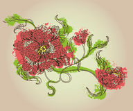 Le croquis du beau ressort fleurit avec des bourgeons et des feuilles Photo stock