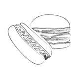 le croquis du monochrome a brouillé la découpe de l'hamburger et du hot-dog avec de la sauce Image libre de droits