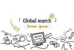 Le croquis global de concept de recherche de web browser gribouillent l'espace d'isolement horizontal de copie illustration stock