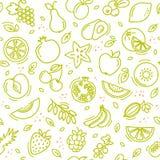 Le croquis a mélangé le format sans couture de vecteur de fond de modèle d'été de fruits illustration de vecteur