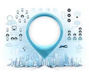 Le croquis moderne d'horizon de ville avec bleu vident le label et infographic autour Photographie stock