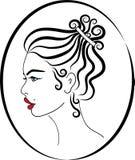 Le croquis rouge de coiffure de lèvres de jeune dame a isolé le vecteur de portrait Illustration Libre de Droits