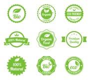 Le cru d'Eco étiquette le bio positionnement de descripteur Images libres de droits