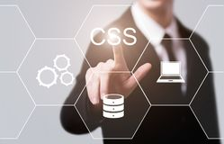 Le CSS codent le concept de programmation de technologie d'Internet de développement de Web photo stock