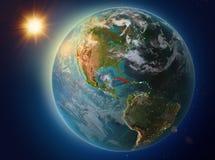 Le Cuba avec le coucher du soleil sur terre illustration stock