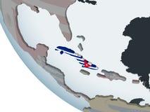 Le Cuba avec le drapeau sur le globe illustration libre de droits
