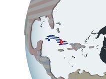 Le Cuba avec le drapeau sur le globe illustration de vecteur
