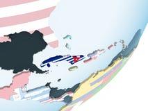 Le Cuba avec le drapeau sur le globe illustration stock