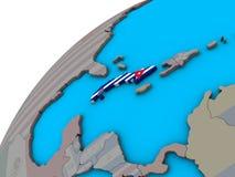 Le Cuba avec le drapeau sur le globe 3D illustration stock