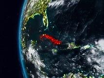 Le Cuba de l'espace pendant la nuit illustration de vecteur