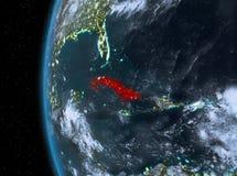 Le Cuba en rouge la nuit illustration libre de droits