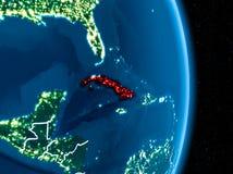 Le Cuba en rouge la nuit illustration de vecteur