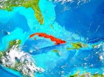 Le Cuba en rouge sur terre illustration de vecteur