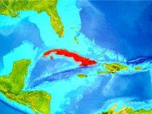 Le Cuba en rouge sur terre illustration stock