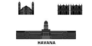 Le Cuba, ensemble plat d'horizon de voyage de Havana City Le Cuba, illustration de vecteur de ville de noir de Havana City, symbo illustration libre de droits
