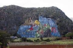 LE CUBA 28 JANVIER 2013 : Mur de préhistoire, ` préhistorique de fresque de `, art de Murale peint sur des roches en vallée de Vi Photo libre de droits