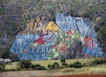 LE CUBA 28 JANVIER 2013 : Mur de préhistoire, ` préhistorique de fresque de `, art de Murale peint sur des roches en vallée de Vi Photographie stock libre de droits