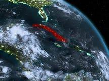 Le Cuba la nuit d'orbite illustration libre de droits