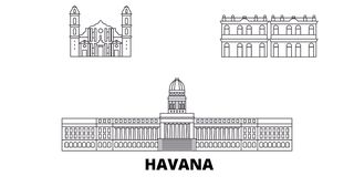 Le Cuba, ligne ensemble de Havana City d'horizon de voyage Le Cuba, illustration de vecteur de ville d'ensemble de Havana City, s illustration de vecteur