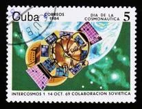 Le Cuba montre Intercosmos satellite 1, vers 1984 Images libres de droits