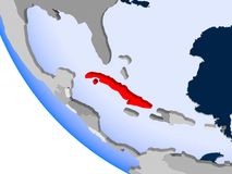 Le Cuba sur le globe politique illustration stock