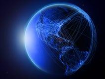 Le Cuba sur la terre bleue avec le réseau illustration de vecteur