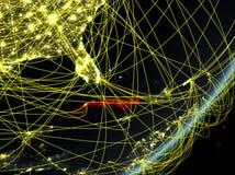 Le Cuba sur la terre foncée avec le réseau illustration de vecteur