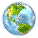 Le Cuba sur le globe d'isolement illustration stock