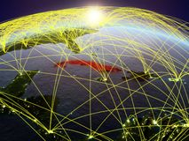 Le Cuba sur terre avec des réseaux illustration stock