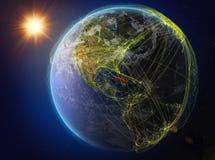 Le Cuba sur terre avec le réseau illustration de vecteur