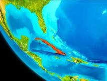 Le Cuba sur terre de l'espace illustration stock