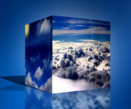 le cube 3d opacifie l'illustration bleue de fond de lever de soleil de nature Images stock