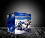 le cube 3d opacifie l'illustration bleue de fond de lever de soleil de nature Photographie stock libre de droits