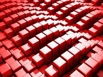 Le cube rouge abstrait bloque le fond Photos libres de droits