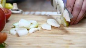 Le cuisinier coupe des oignons clips vidéos
