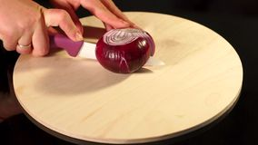 Le cuisinier coupe l'oignon rouge avec un couteau en céramique, MOIS lent banque de vidéos
