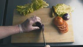 Le cuisinier coupe le plan rapproché d'oignon rouge banque de vidéos