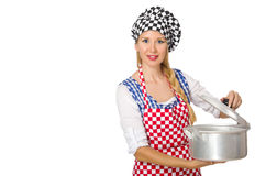 Le cuisinier de femme d'isolement sur le fond blanc image stock